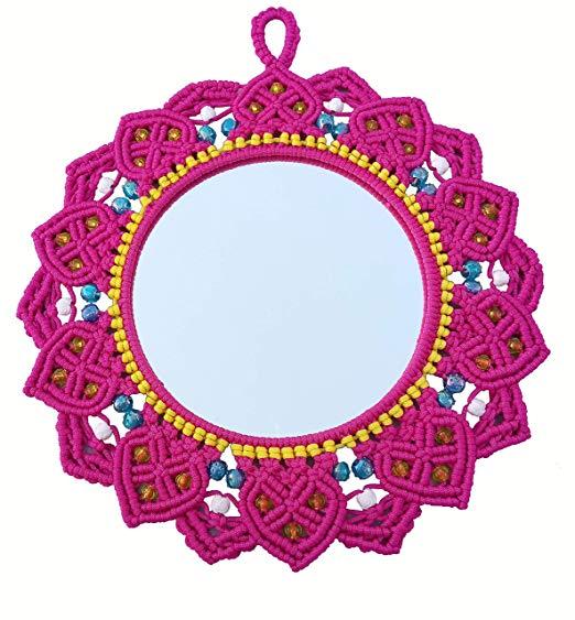Macrame Mirror (Dark Pink) ( macrame mirror flower ) 3